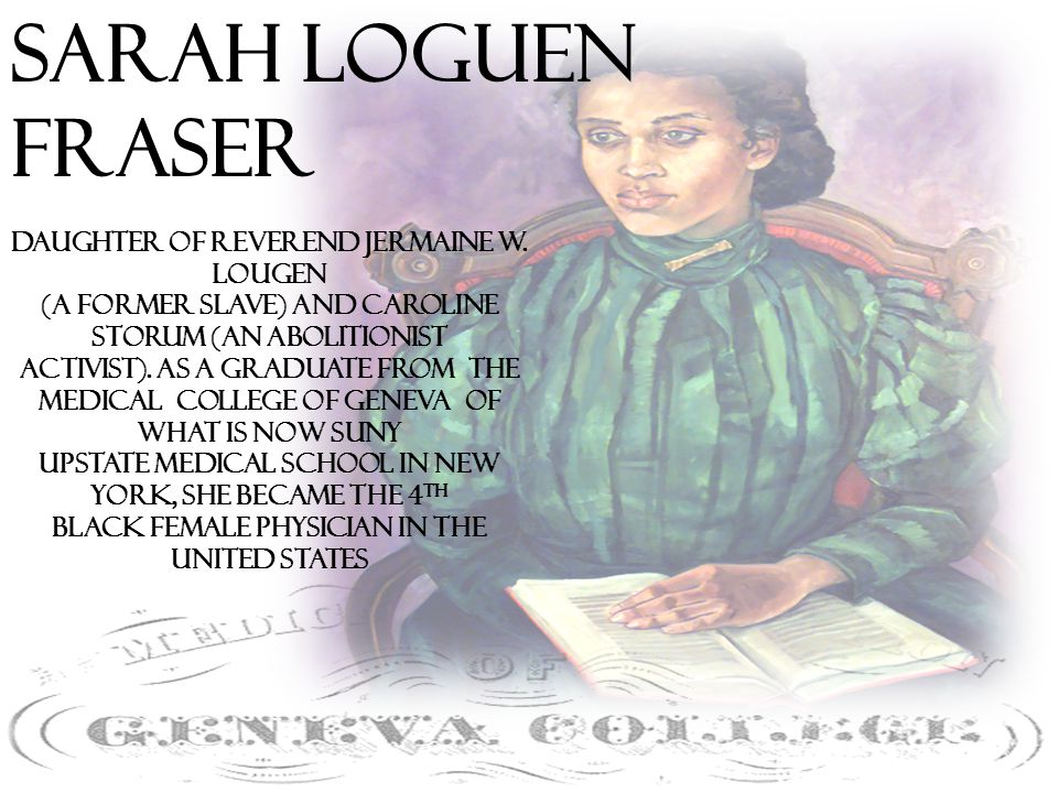 Sarah Loguen Fraser Daughter of Reverend Jermaine W.