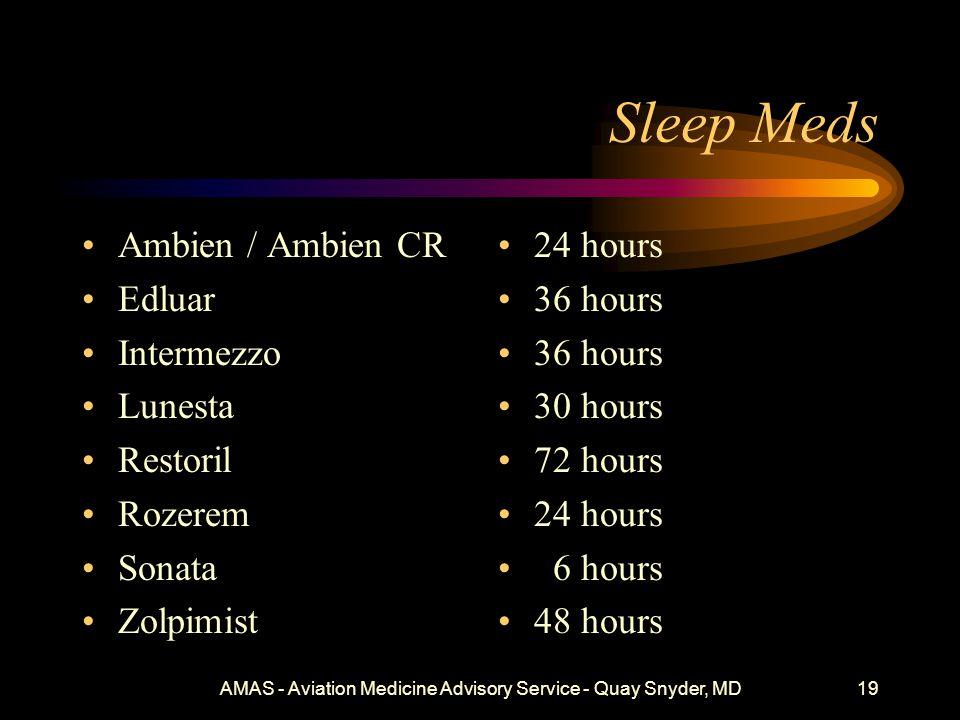 Sleep Meds Ambien / Ambien CR Edluar Intermezzo Lunesta Restoril Rozerem Sonata Zolpimist 24 hours 36 hours 30 hours 72 hours 24 hours 6 hours 48 hours AMAS - Aviation Medicine Advisory Service - Quay Snyder, MD19