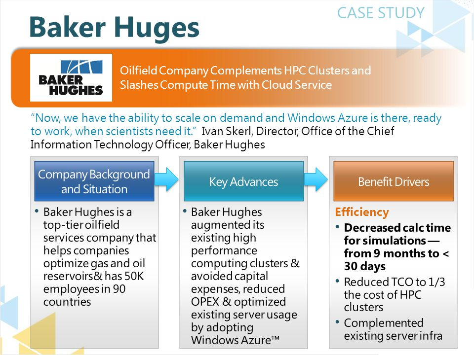 CASE STUDY Now, we have the ability to scale on demand and Windows Azure is there, ready to work, when scientists need it. Ivan Skerl, Director, Office of the Chief Information Technology Officer, Baker Hughes Baker Huges Oilfield Company Complements HPC Clusters and Slashes Compute Time with Cloud Service
