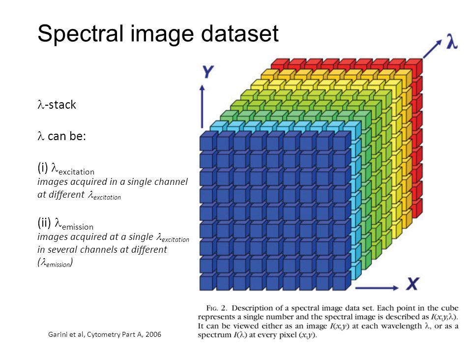 -stack can be: (i) excitation images acquired in a single channel at different excitation (ii) emission images acquired at a single excitation in several channels at different ( emission ) Spectral image dataset Garini et al, Cytometry Part A, 2006