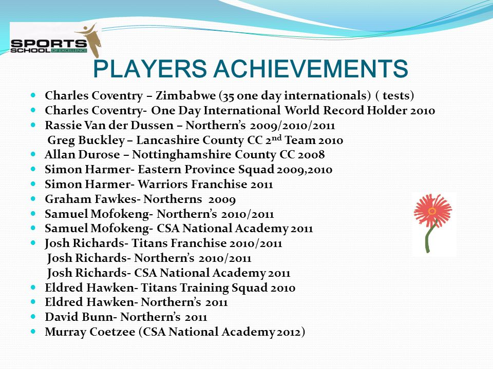 PLAYERS ACHIEVEMENTS Charles Coventry – Zimbabwe (35 one day internationals) ( tests) Charles Coventry- One Day International World Record Holder 2010 Rassie Van der Dussen – Northern's 2009/2010/2011 Greg Buckley – Lancashire County CC 2 nd Team 2010 Allan Durose – Nottinghamshire County CC 2008 Simon Harmer- Eastern Province Squad 2009,2010 Simon Harmer- Warriors Franchise 2011 Graham Fawkes- Northerns 2009 Samuel Mofokeng- Northern's 2010/2011 Samuel Mofokeng- CSA National Academy 2011 Josh Richards- Titans Franchise 2010/2011 Josh Richards- Northern's 2010/2011 Josh Richards- CSA National Academy 2011 Eldred Hawken- Titans Training Squad 2010 Eldred Hawken- Northern's 2011 David Bunn- Northern's 2011 Murray Coetzee (CSA National Academy 2012)