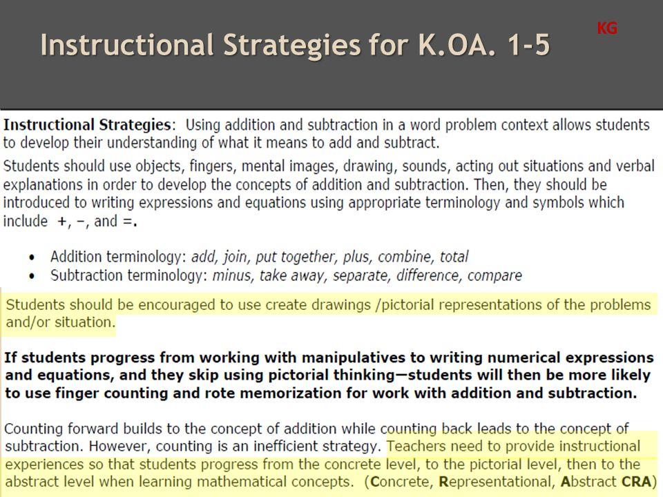 Instructional Strategies for K.OA. 1-5