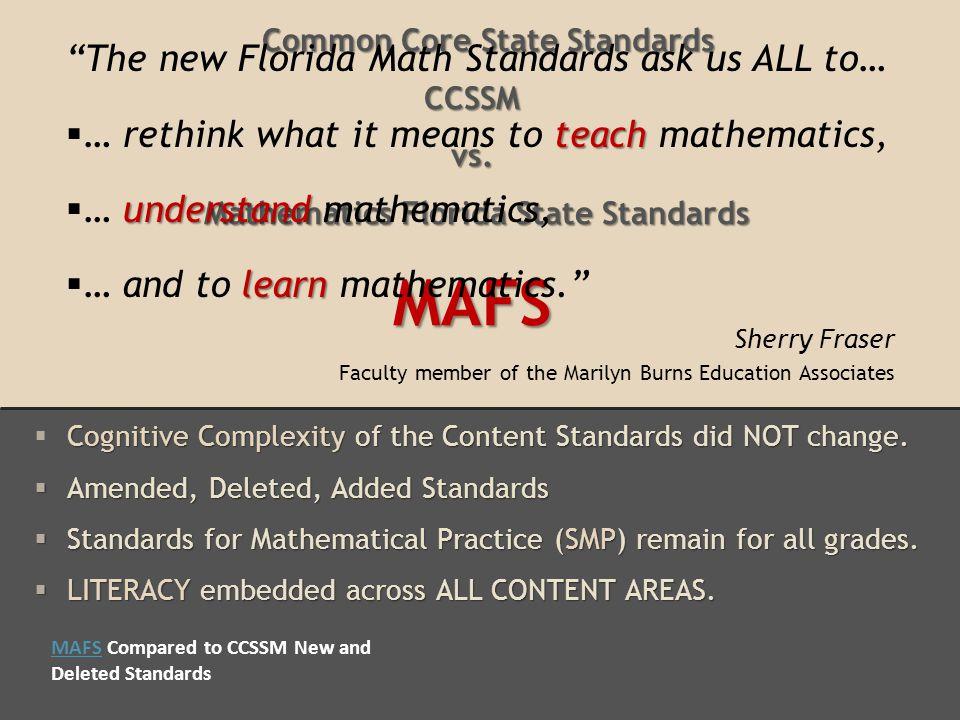 Common Core State Standards CCSSM vs.