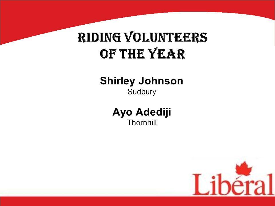 Shirley Johnson Sudbury Ayo Adediji Thornhill Riding Volunteers of the Year
