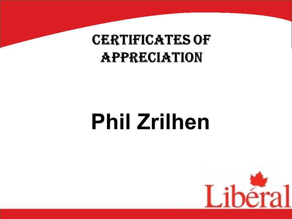 Phil Zrilhen Certificates of Appreciation