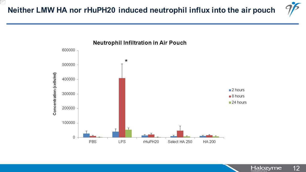 12 * Neither LMW HA nor rHuPH20 induced neutrophil influx into the air pouch