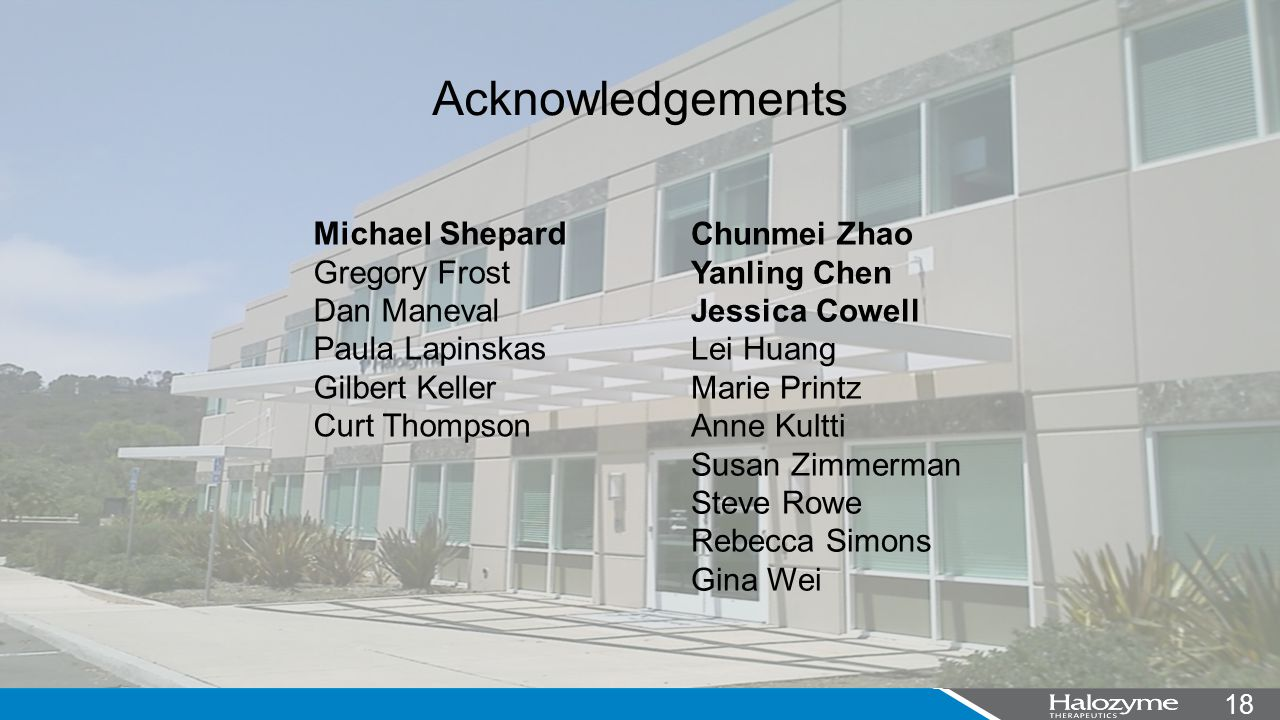 18 Acknowledgements Michael Shepard Gregory Frost Dan Maneval Paula Lapinskas Gilbert Keller Curt Thompson Chunmei Zhao Yanling Chen Jessica Cowell Lei Huang Marie Printz Anne Kultti Susan Zimmerman Steve Rowe Rebecca Simons Gina Wei