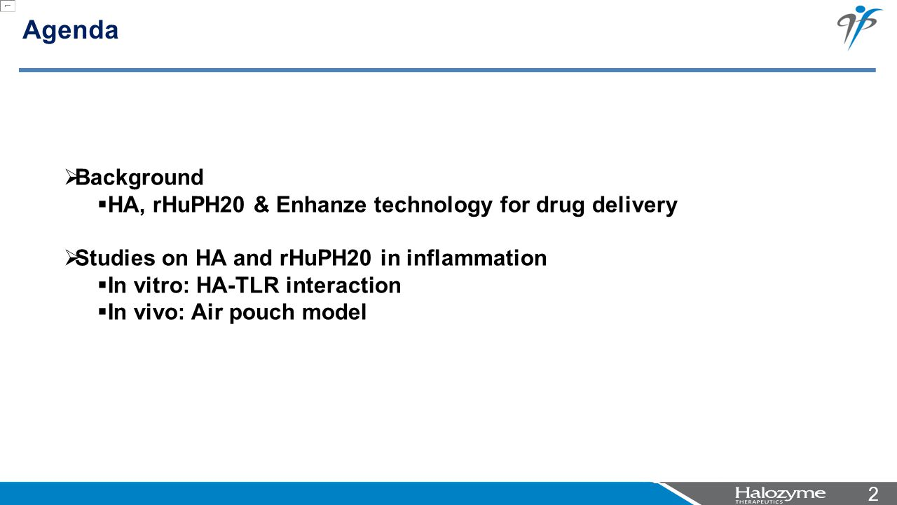 22 Agenda  Background  HA, rHuPH20 & Enhanze technology for drug delivery  Studies on HA and rHuPH20 in inflammation  In vitro: HA-TLR interaction  In vivo: Air pouch model