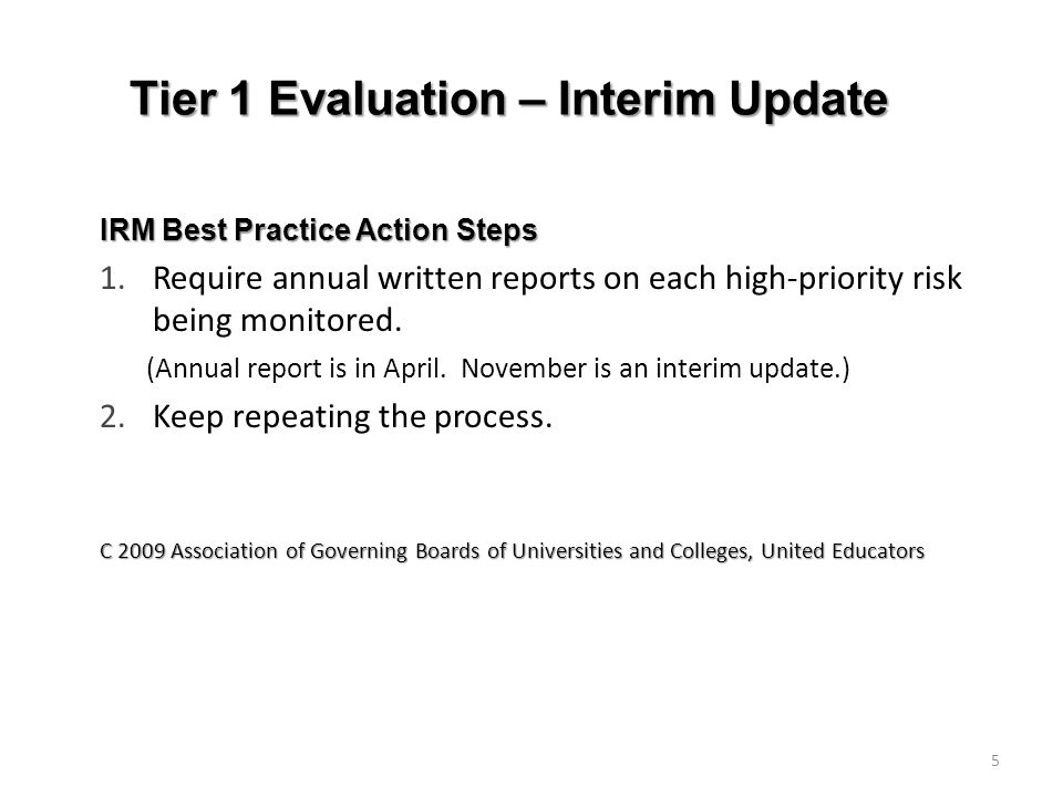 Tier 1 Evaluation – Interim Update IRM Best Practice Action Steps 1.Require annual written reports on each high-priority risk being monitored.