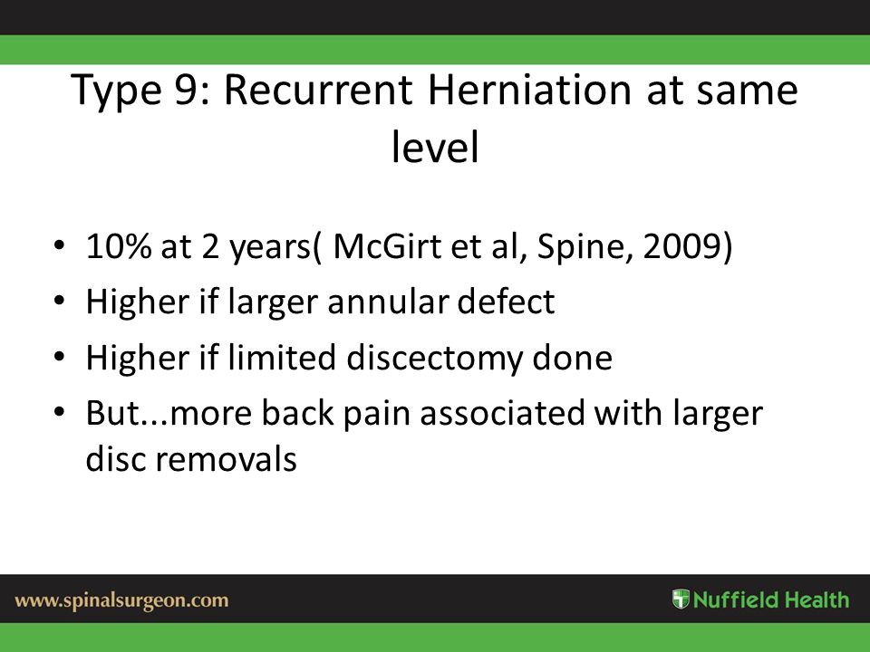 Type 9: Recurrent Herniation at same level 10% at 2 years( McGirt et al, Spine, 2009) Higher if larger annular defect Higher if limited discectomy done But...more back pain associated with larger disc removals