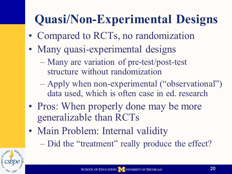 21 Causation with Observational Data Often difficult to ascertain because of non- random assignment to treatment Example: Students often self-select into courses, interventions, programs, may result in biased estimates when naïve methods employed to ascertain treatment effects Goal.