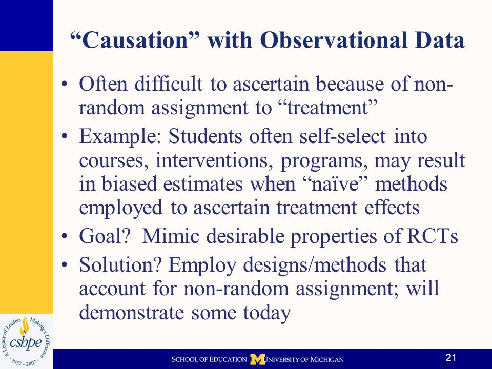 22 Counterfactuals When using observational data the idea is: Find a group that looks like the treated on as many dimensions as you can measure Establishing what counterfactual is & how to create legitimate control group is difficult The best counterfactual is one's self.