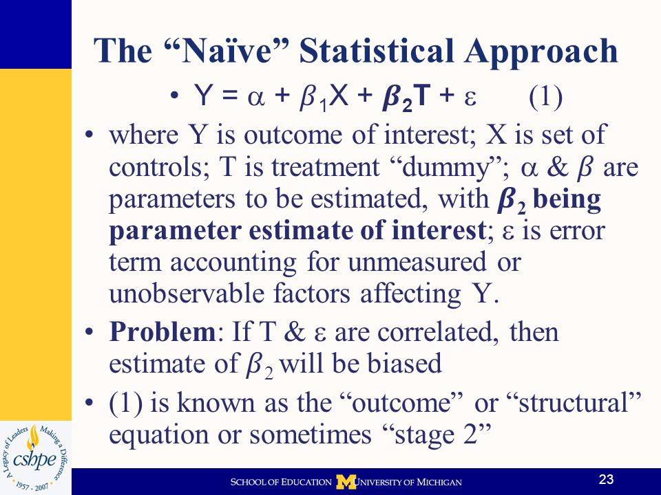 24 Selection Adjustment Methods Fixed effects (FE) methods, instrumental variables (IV), propensity score matching (PSM), & regression discontinuity (RD) designs all have been used to approximate randomized controlled experiment results All are regression-based methods Each have strengths/weaknesses & their applicability often depends on knowledge of DGP & richness of data available