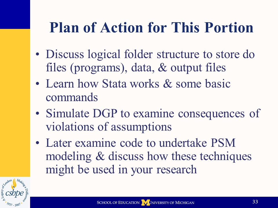 34 Importance of Good Structure My bet is that IR folks like you know this already but… Creating a logical folder structure for each project is important step in analysis process If you use a similar structure all the time you will be able to come back to projects at later date & understand what was done Also very important to provide comments in your do files so you know what you did –Maybe someone else will pick up your work