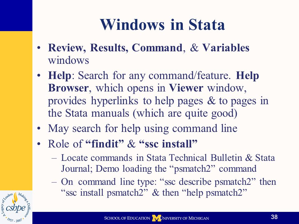 39 Stata Program Files Called do files; contain Stata code/commands we run to produce results Do File Name: –CA AIR PSM Violations Simulation.do in the Do Files sub-folder in CA AIR 2014 main project folder –Later will use: CA AIR PSM.do in same place There are also menu options to run commands in Stata, but we won't do this –May be useful for some on the fly analysis, but it is NOT a good way to do most projects –Reasons: Reproducibility & transportability