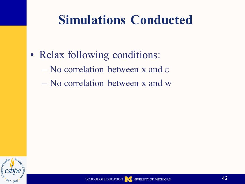 Scenario 1: The Ideal Condition Conditional on observables (x), treatment (w) is independent of the error (  ) The scenario mimics the data that would be generated from a randomized study –x is created as an ordinal variable, taking on the values 1, 2, 3, 4 If we regress y on x (controls) and w (treatment indicator) we obtain… 43