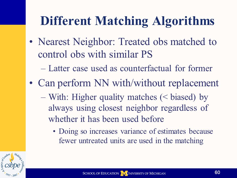 Matching Algorithms (cont'd) –Without replacement: Order in which matches made is important because matches must be unique.