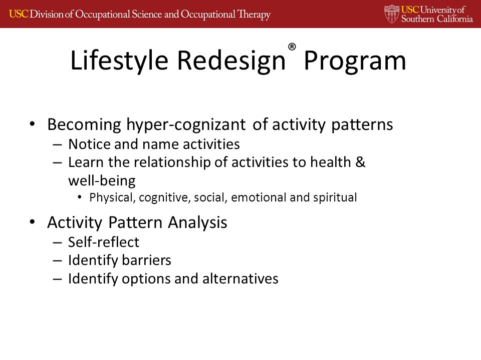 Lifestyle Redesign ® Program Becoming hyper-cognizant of activity patterns – Notice and name activities – Learn the relationship of activities to health & well-being Physical, cognitive, social, emotional and spiritual Activity Pattern Analysis – Self-reflect – Identify barriers – Identify options and alternatives