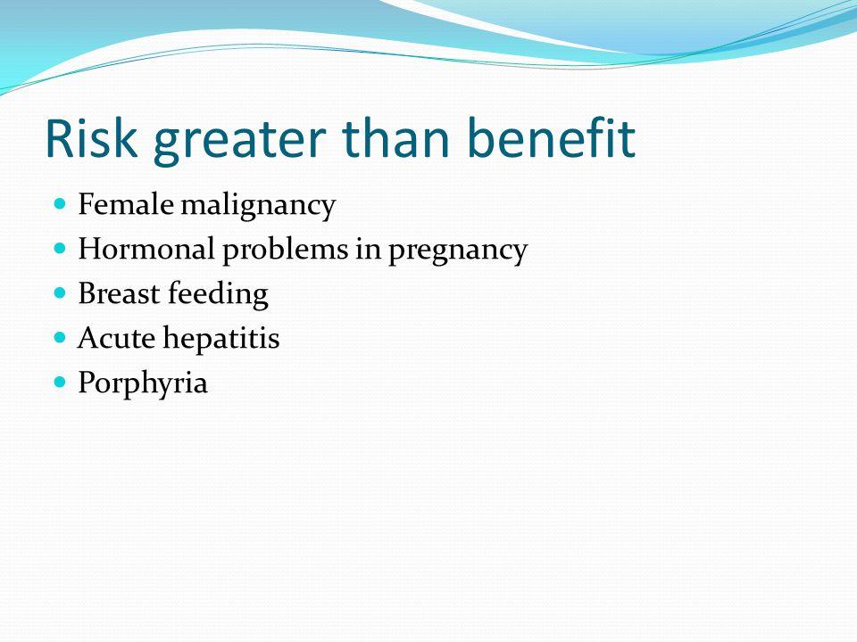 Risk greater than benefit Female malignancy Hormonal problems in pregnancy Breast feeding Acute hepatitis Porphyria