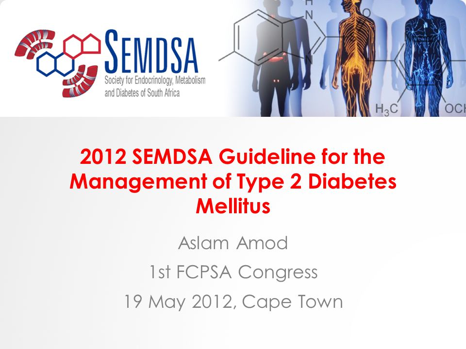 2012 SEMDSA Guideline for the Management of Type 2 Diabetes Mellitus Aslam Amod 1st FCPSA Congress 19 May 2012, Cape Town