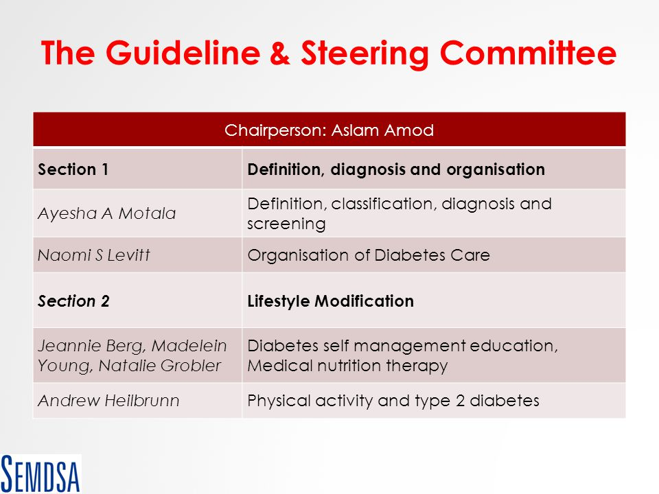 The Guideline & Steering Committee Chairperson: Aslam Amod Section 1Definition, diagnosis and organisation Ayesha A Motala Definition, classification,