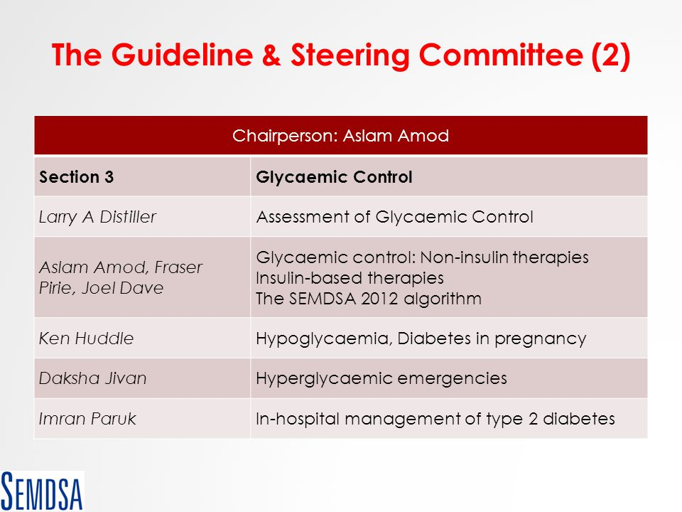 The Guideline & Steering Committee (2) Chairperson: Aslam Amod Section 3Glycaemic Control Larry A DistillerAssessment of Glycaemic Control Aslam Amod,