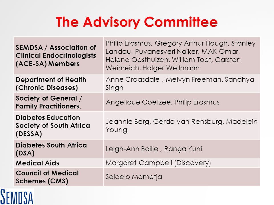 The Advisory Committee SEMDSA / Association of Clinical Endocrinologists (ACE-SA) Members Philip Erasmus, Gregory Arthur Hough, Stanley Landau, Puvane