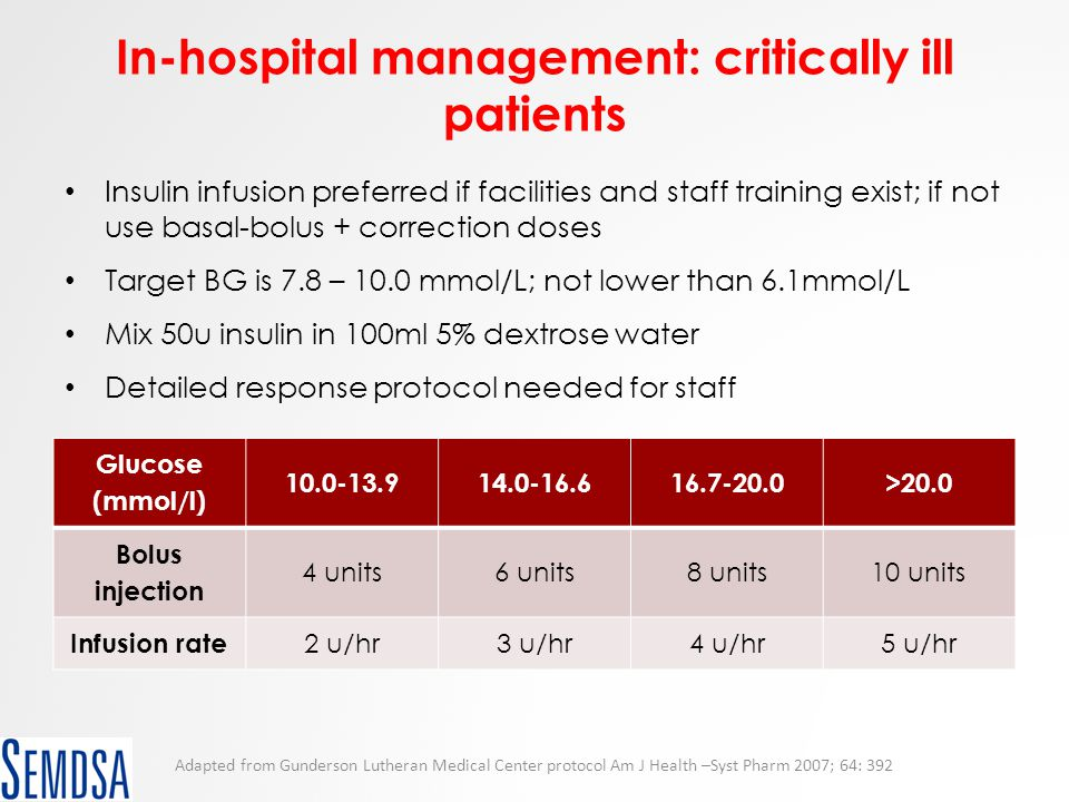 In-hospital management: critically ill patients Insulin infusion preferred if facilities and staff training exist; if not use basal-bolus + correction