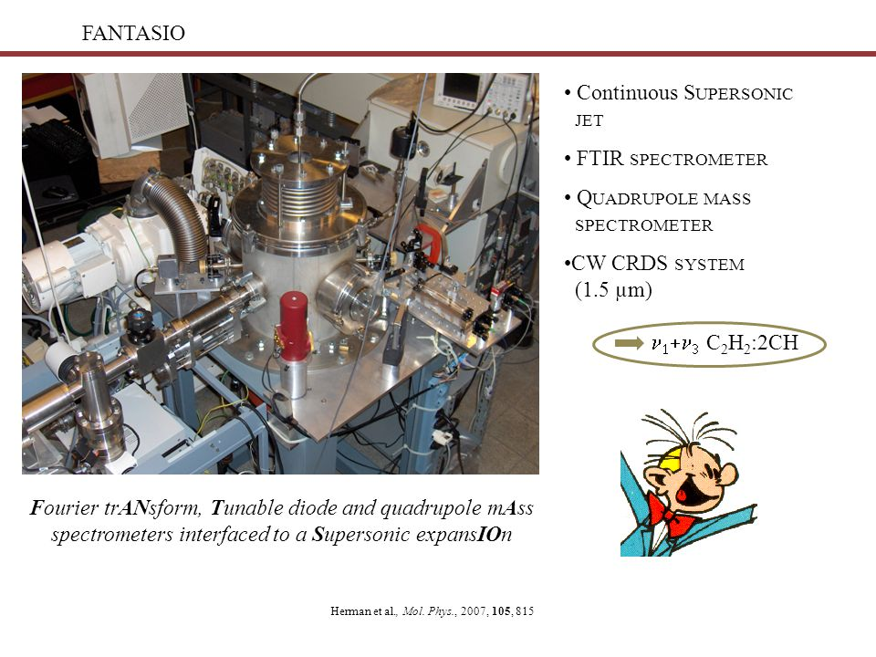 FANTASIO Continuous S UPERSONIC JET FTIR SPECTROMETER Q UADRUPOLE MASS SPECTROMETER CW CRDS SYSTEM (1.5 µm)    C 2 H 2 :2CH Fourier trANsform, Tunable diode and quadrupole mAss spectrometers interfaced to a Supersonic expansIOn Herman et al., Mol.