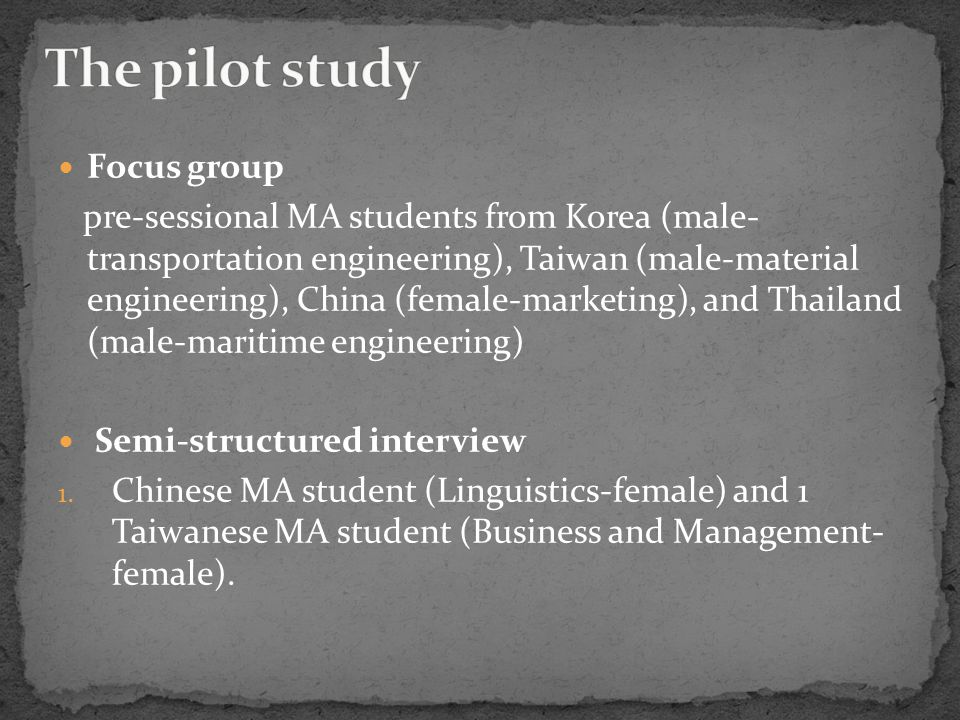 Focus group pre-sessional MA students from Korea (male- transportation engineering), Taiwan (male-material engineering), China (female-marketing), and