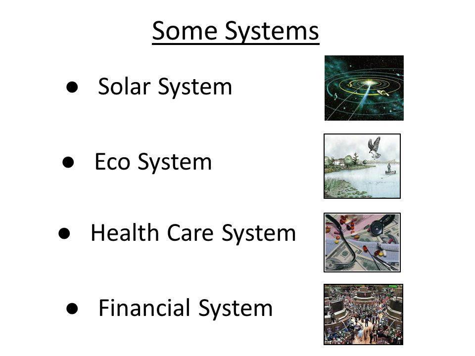 Some Systems ● Solar System ● Eco System ● Health Care System ● Financial System
