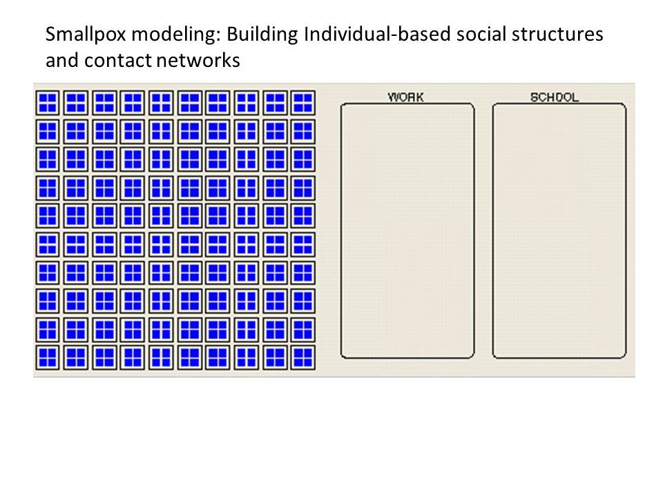 Smallpox modeling: Building Individual-based social structures and contact networks