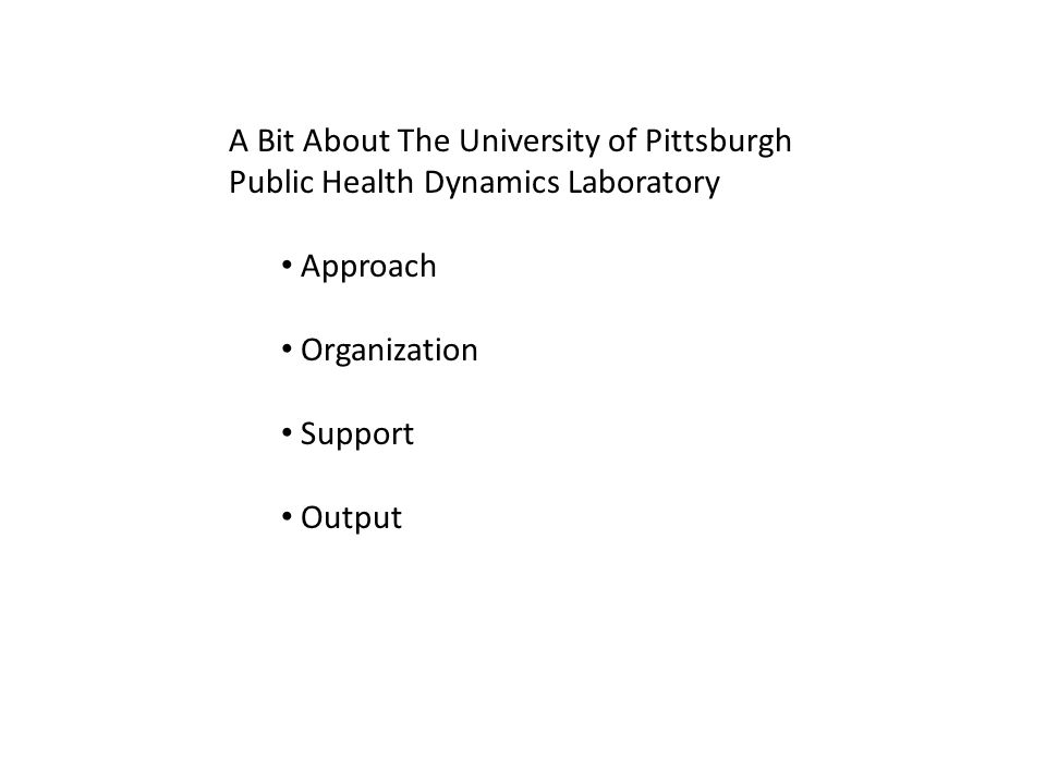 A Bit About The University of Pittsburgh Public Health Dynamics Laboratory Approach Organization Support Output