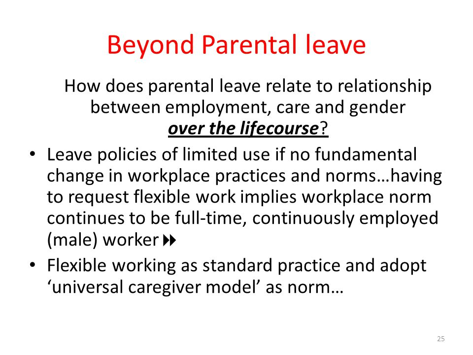 Beyond Parental leave How does parental leave relate to relationship between employment, care and gender over the lifecourse? Leave policies of limite