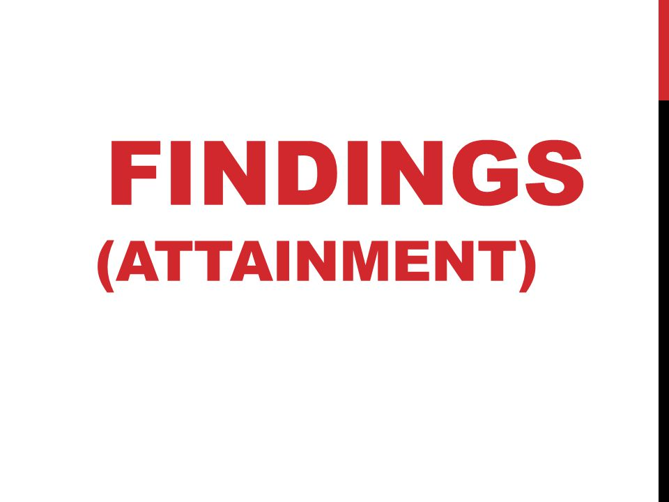 FINDINGS (ATTAINMENT)