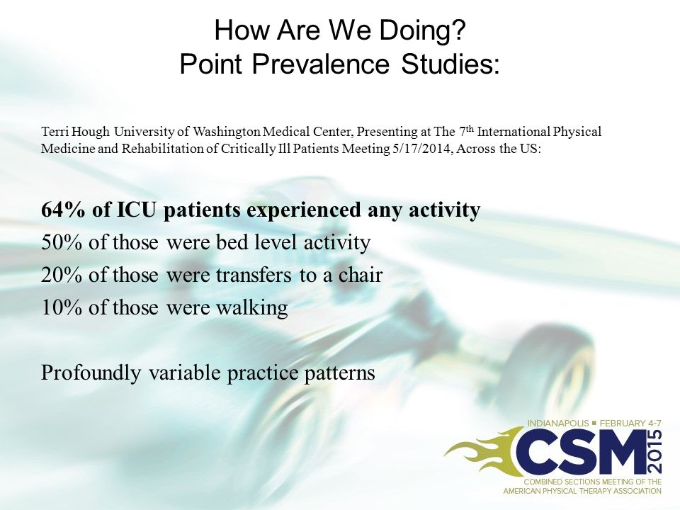 How Are We Doing? Point Prevalence Studies: Terri Hough University of Washington Medical Center, Presenting at The 7 th International Physical Medicin