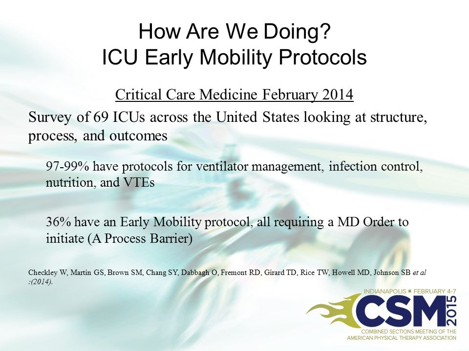 How Are We Doing? ICU Early Mobility Protocols Critical Care Medicine February 2014 Survey of 69 ICUs across the United States looking at structure, p
