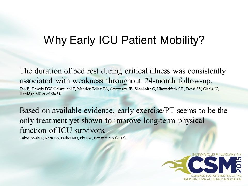 Why Early ICU Patient Mobility? The duration of bed rest during critical illness was consistently associated with weakness throughout 24-month follow-
