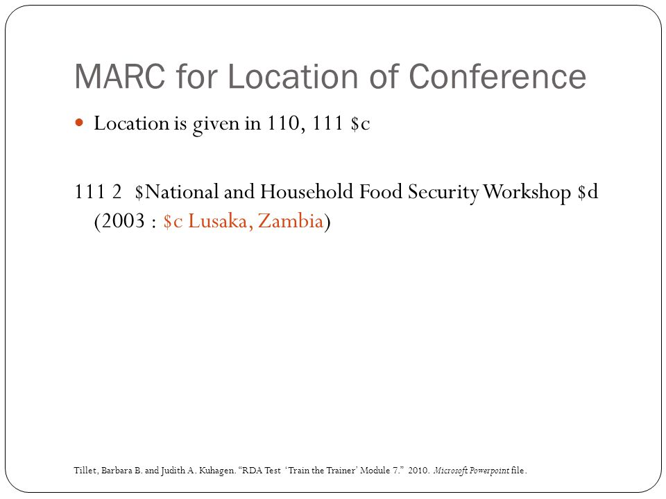 MARC for Location of Conference Location is given in 110, 111 $c 111 2 $National and Household Food Security Workshop $d (2003 : $c Lusaka, Zambia) Ti