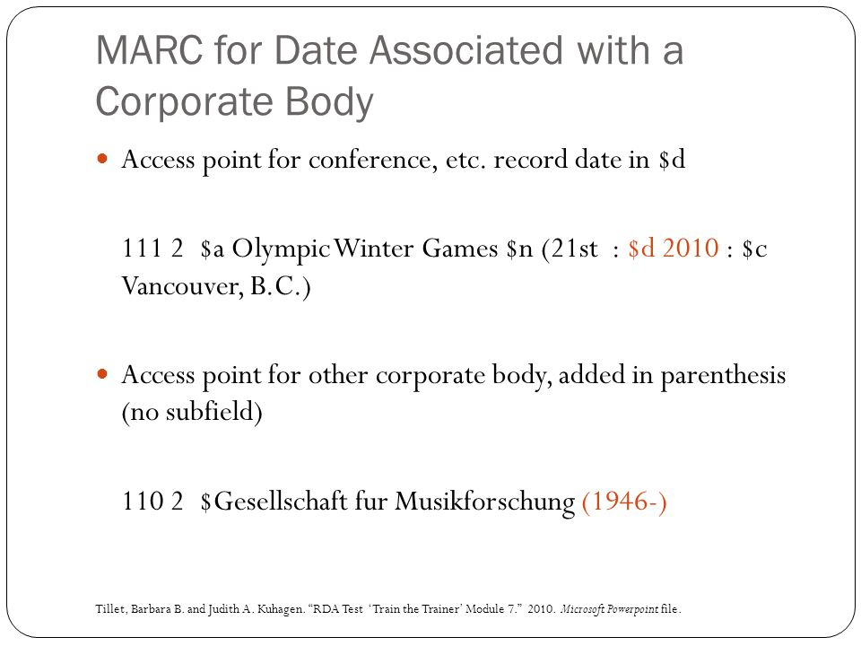 MARC for Date Associated with a Corporate Body Access point for conference, etc. record date in $d 111 2 $a Olympic Winter Games $n (21st : $d 2010 :