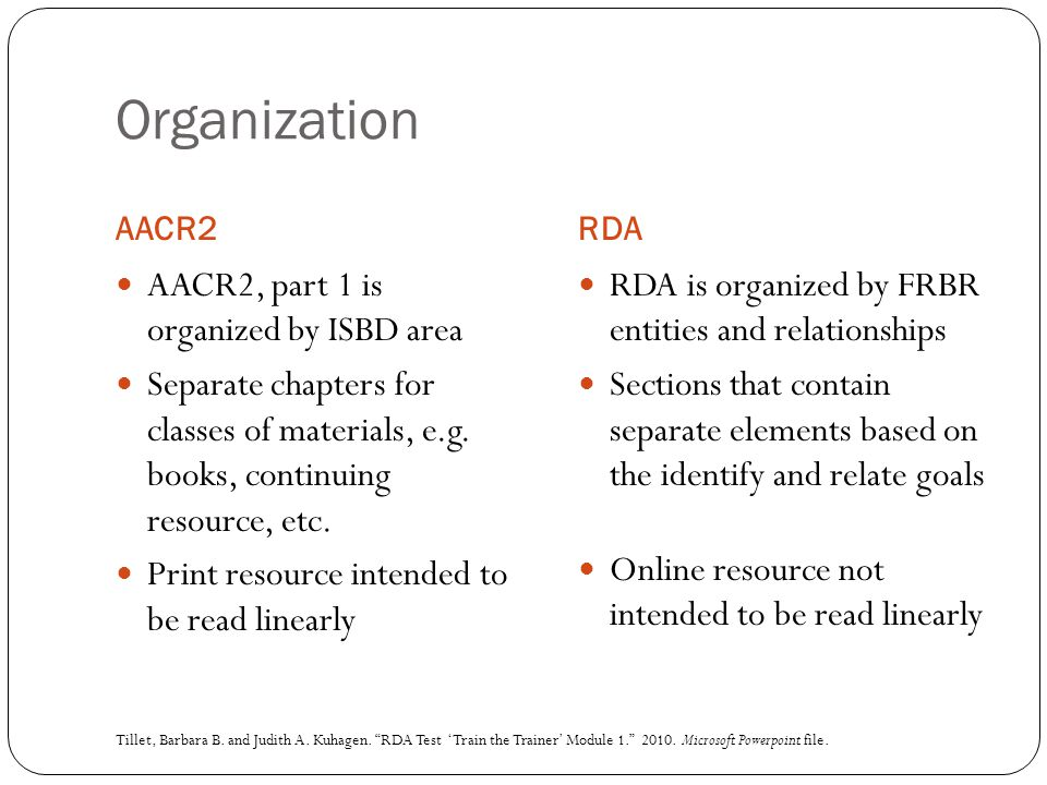 Organization AACR2RDA AACR2, part 1 is organized by ISBD area Separate chapters for classes of materials, e.g. books, continuing resource, etc. Print