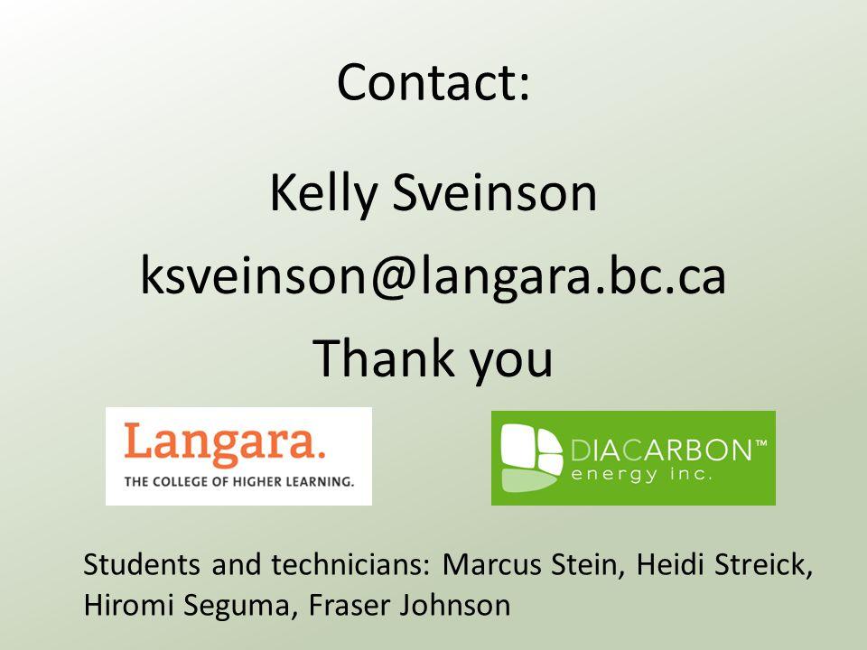 Contact: Kelly Sveinson ksveinson@langara.bc.ca Thank you Students and technicians: Marcus Stein, Heidi Streick, Hiromi Seguma, Fraser Johnson