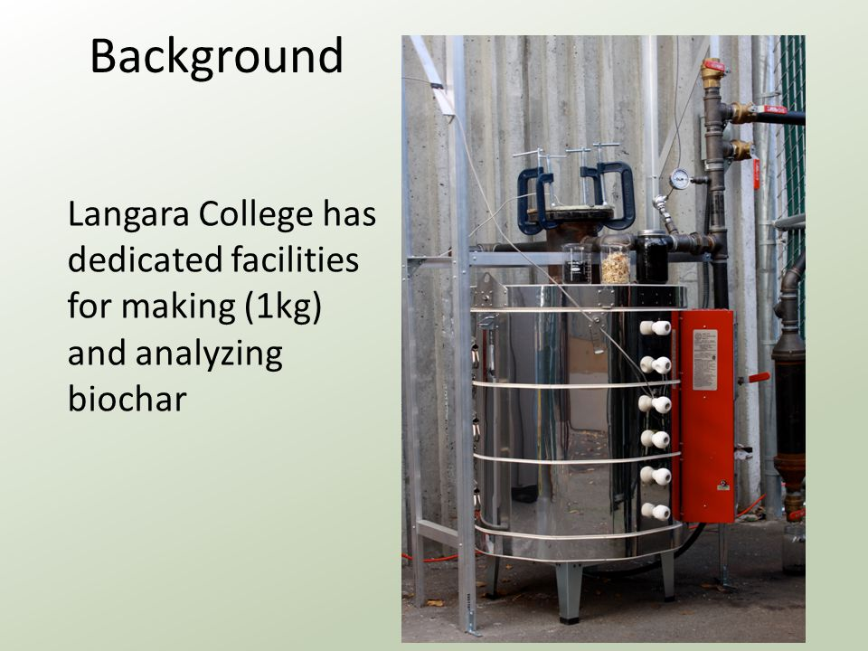 Background Langara College has dedicated facilities for making (1kg) and analyzing biochar