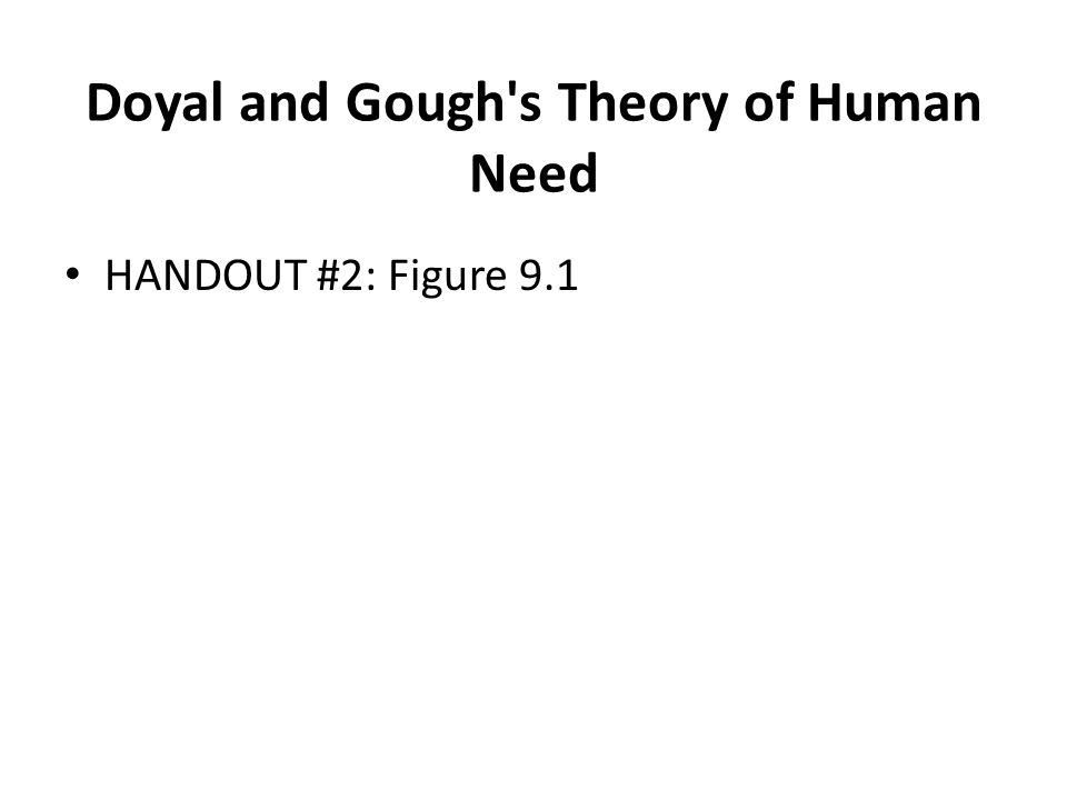 Doyal and Gough's Theory of Human Need HANDOUT #2: Figure 9.1