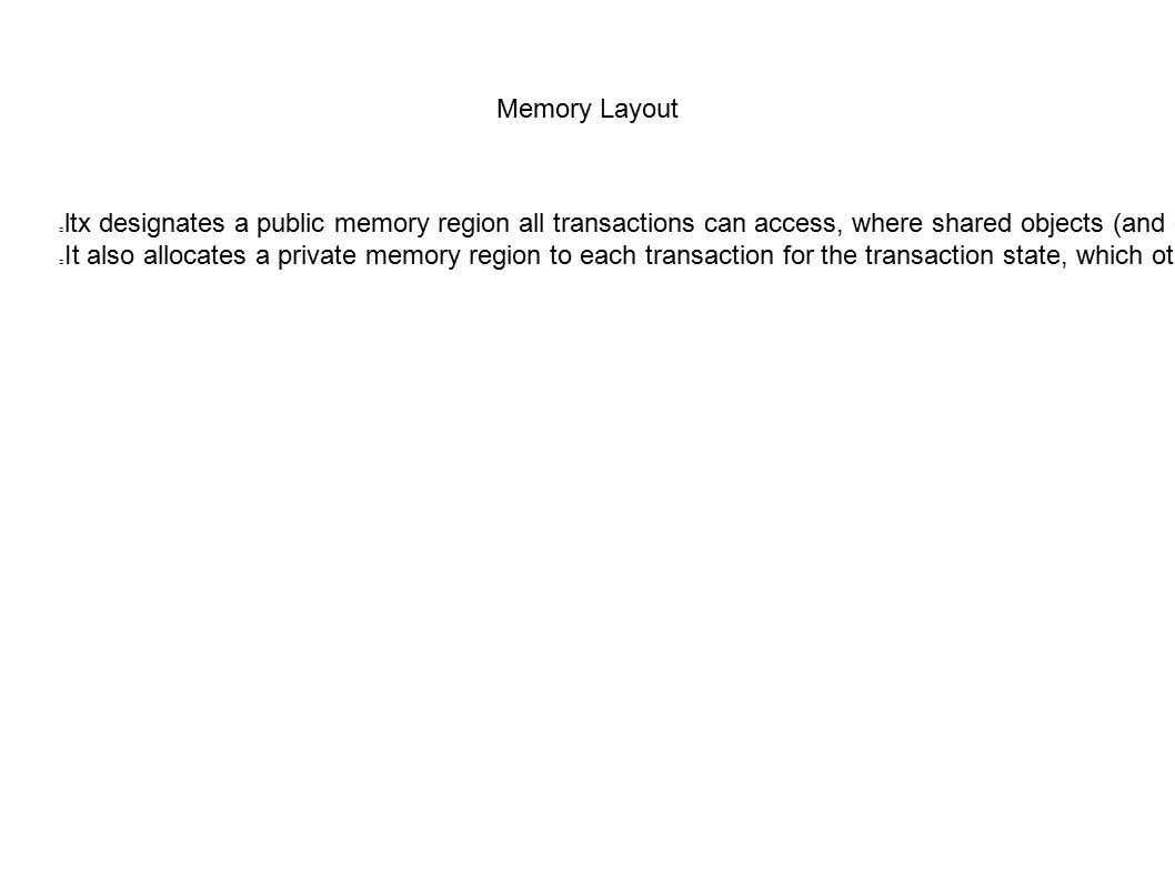 Memory Layout ltx designates a public memory region all transactions can access, where shared objects (and only shared objects) live. It also allocate