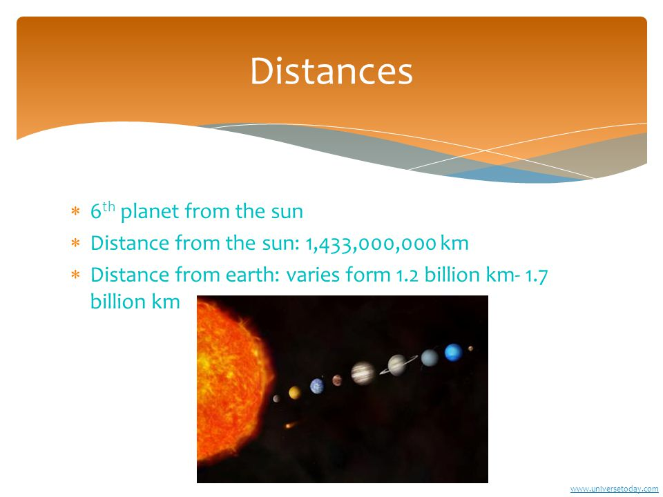  6 th planet from the sun  Distance from the sun: 1,433,000,000 km  Distance from earth: varies form 1.2 billion km- 1.7 billion km Distances www.universetoday.com
