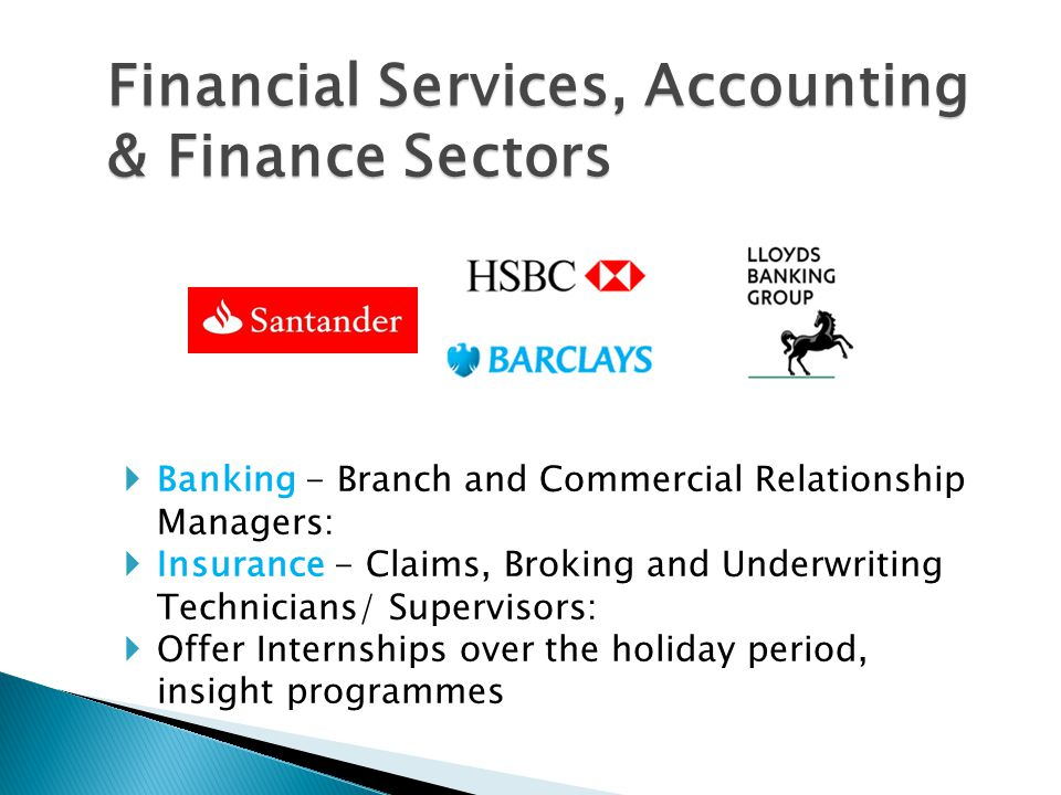 Financial Services, Accounting & Finance Sectors  Banking - Branch and Commercial Relationship Managers:  Insurance - Claims, Broking and Underwriti