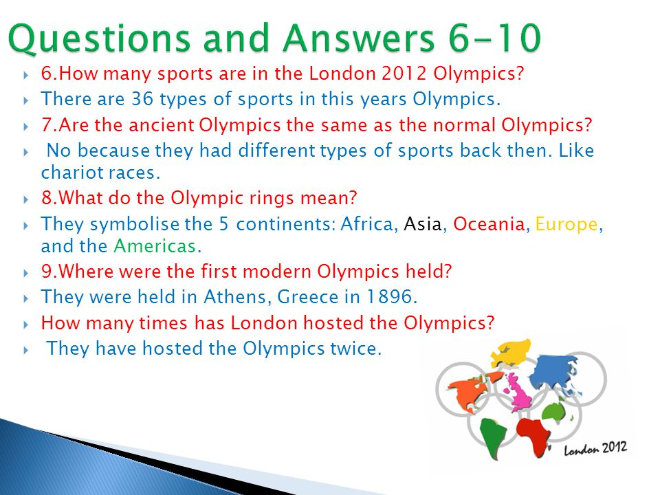  6.How many sports are in the London 2012 Olympics.