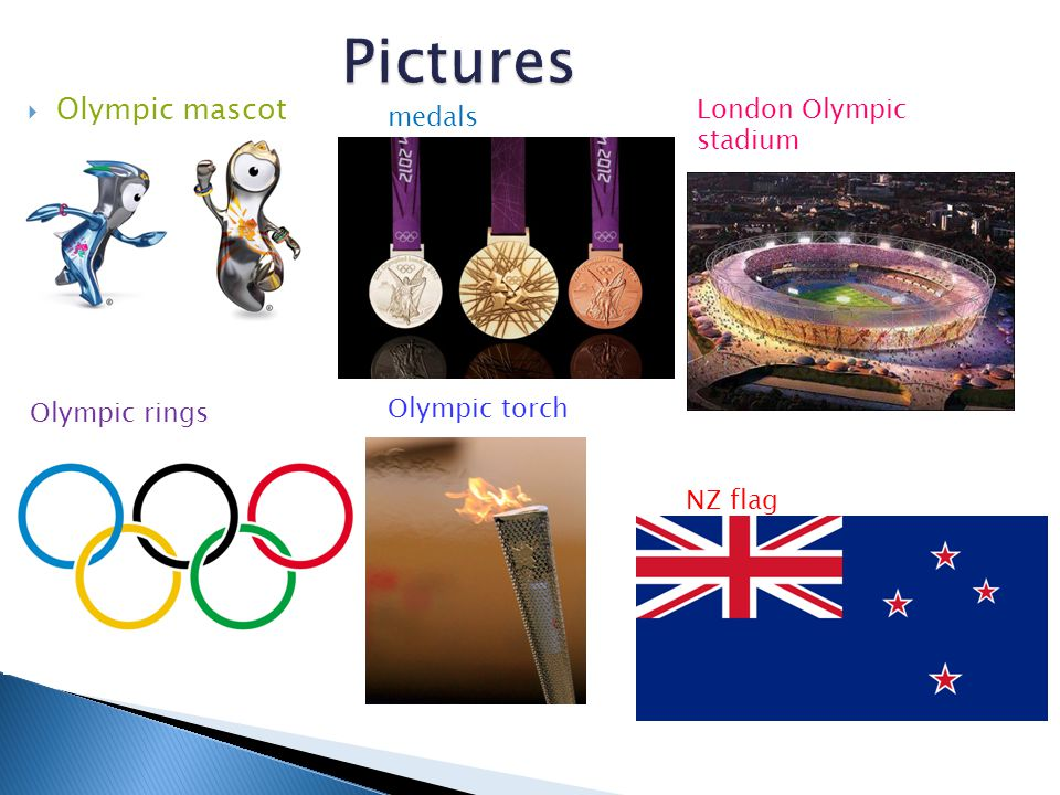 Olympic mascot medals London Olympic stadium Olympic rings Olympic torch NZ flag