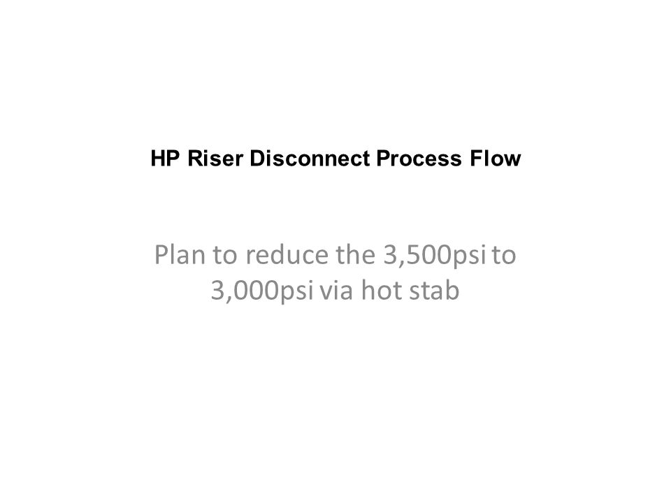HP Riser Disconnect Process Flow Plan to reduce the 3,500psi to 3,000psi via hot stab